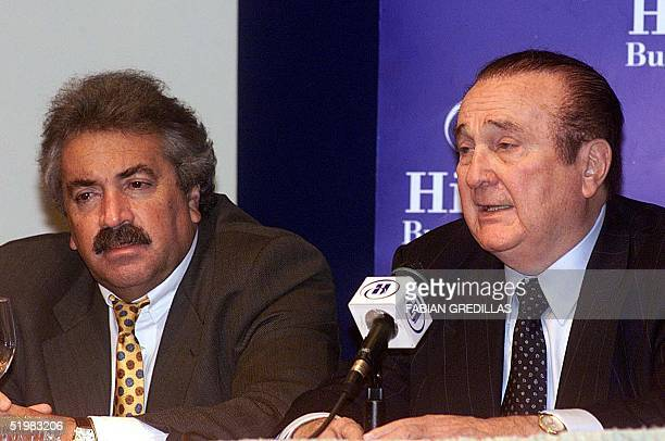 The President of the Colombian Soccer Federation Alvaro Fina listens at a hotel in Buenos Aires 30 June 2001 to the president of the South American...