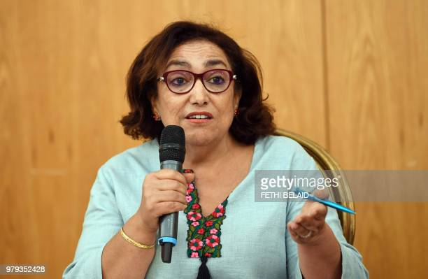 The president of the committee on human rights and individual freedoms lawyer and independent Tunisia MP Bochra Belhaj Hmida delivers the final...