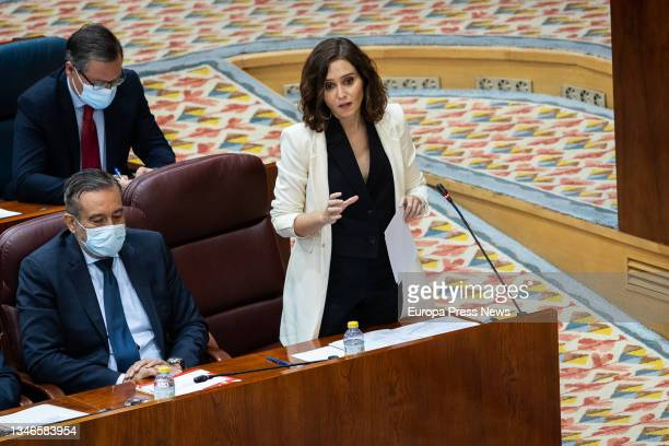 The President of the Community of Madrid, Isabel Diaz Ayuso, in a session of control to the regional government, in the Assembly of Madrid, on 14...