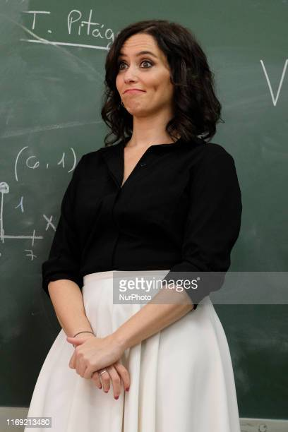 The president of the Community of Madrid Isabel Diaz Ayuso seen the Salesianos Atocha school in Madrid September 18 2019 Spain