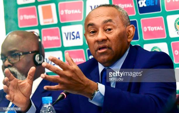 The president of the Confederation of African Football Ahmad Ahmad announces Egypt as host of the 2019 Africa Cup of Nations between June 15 and July...