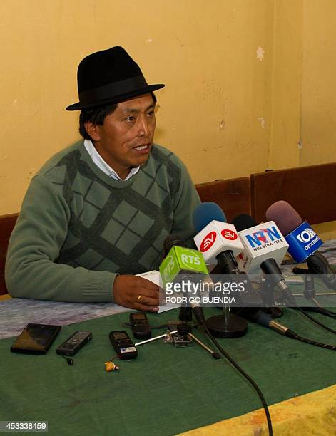 The president of the Confederation of the Indigenous Nations of Ecuador Humberto Cholango speaks during a press conference in Quito on December 3...