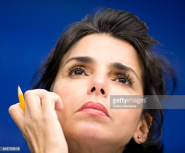 The President of the Council French Minister of Justice Keeper of the Seals Rachida DATI is talking to media at the end of the Justice and Home...