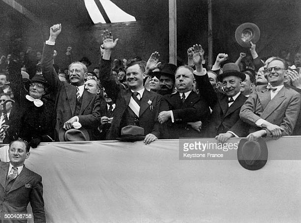 The President of the Council Leon Blum giving a speech place de la Nation we can see the Minister for National Defence Edouard Daladier the Communist...