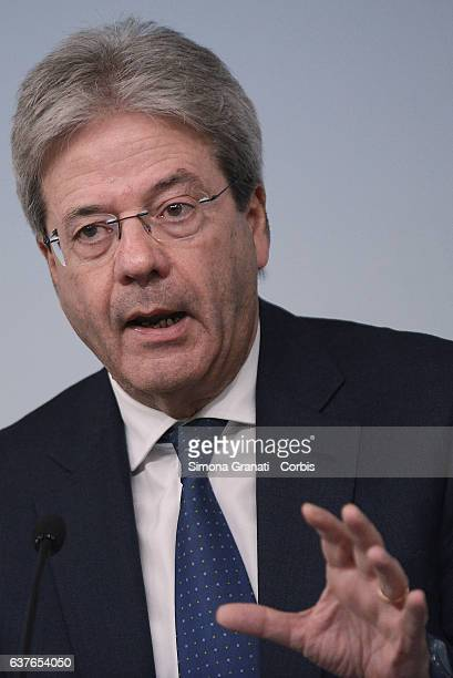 The President of the Council of Ministers Paolo Gentiloni attends the press conference at Palazzo Chigi after the meeting with the Commission study...