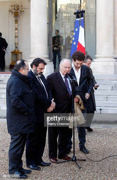The President of the CRIF Roger Cukierman and the President of the Central Jewish Consistory of France Joel Mergui speak to the media after a meeting...