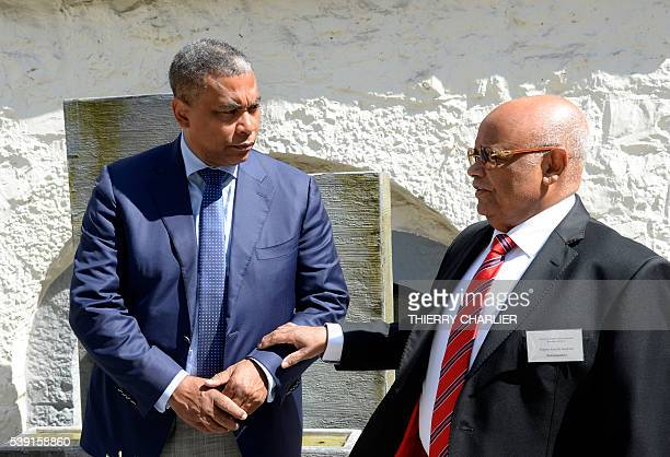The President of the Democratic Republic of Congo opposition party Aliance for the Renovation in The Congo Olivier Kamitatu is seen along with the...