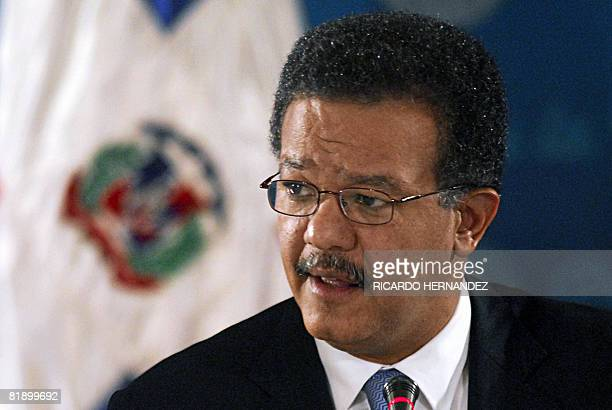 The President of the Dominican Republic Leonel Fernandez speaks during a press conference at the presidential palace in Santo Domingo on July 10 2008...