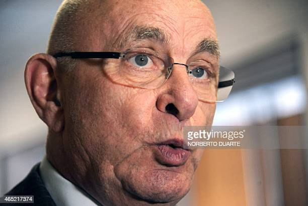 The president of the Dutch Football Federation, Michael van Praag, speaks to the press during the 65th Ordinary Congress of the CONMEBOL, at the...