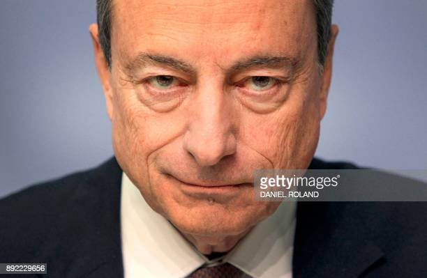The President of the European Central Bank ECB Mario Draghi arrives for a press conference following the meeting of the Governing Council in...
