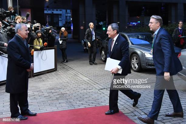 The President of the European Central Bank ECB Mario Draghi arrives to attend an EU summit at which 27 European leaders are to approve opening the...