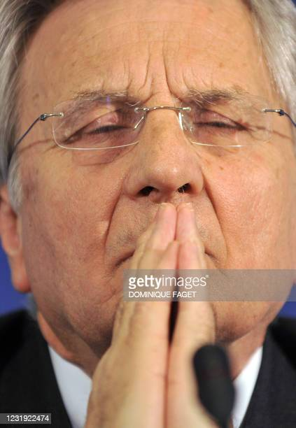 The President of the European Central Bank Jean Claude Trichet gestures during a press conference at the end of the Informal meeting of European...