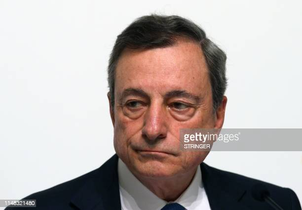 The President of the European Central Bank Mario Draghi addresses a press conference following the meeting of the Governing Council of the European...