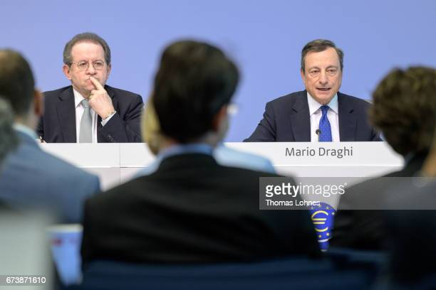 The President of the European Central Bank Mario Draghi and Vice President Vitor Manuel Ribeiro Constancio speak to the media during a press...