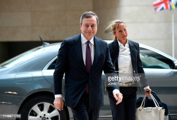 The President of the European Central Bank Mario Draghi arrives during Eurogroup meeting at the EU headquarters in Luxembourg on June 13 2019