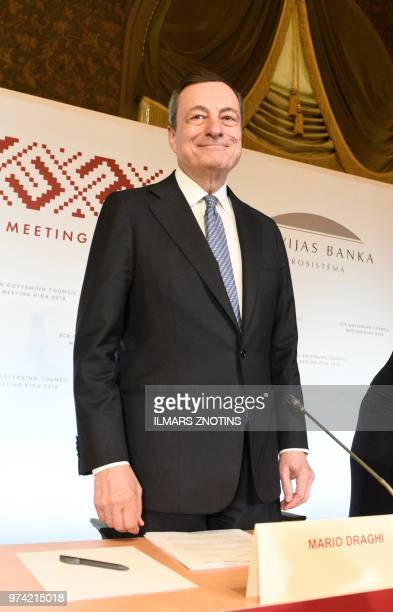 The President of the European Central Bank Mario Draghi arrives for a press conference following the meeting of the Governing Council of the European...