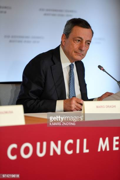 The President of the European Central Bank Mario Draghi gives a press conference following the meeting of the Governing Council of the European...