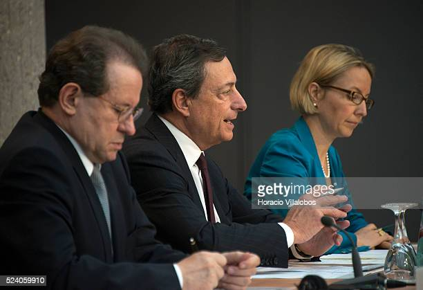 The President of the European Central Bank Mario Draghi is accompanied by ECB vice president Vitor Constancio and ECB director general of...