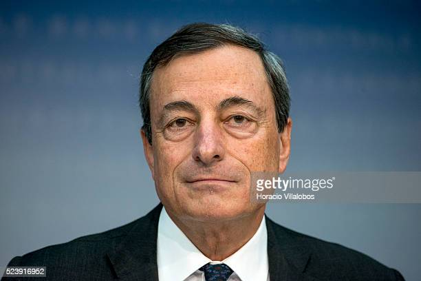The President of the European Central Bank Mario Draghi listens to a question during a press conference, following the meeting of the Governing...