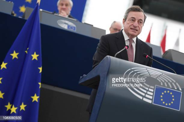 The President of the European Central Bank Mario Draghi speaks during a ceremony to commemorate the 20th anniversary of the launch of the Euro at the...