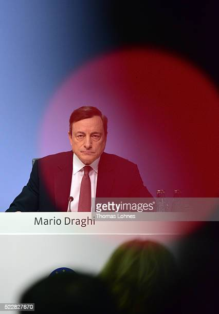 The President of the European Central Bank Mario Draghi speaks to the media during a press conference following the meeting of the Governing Council...