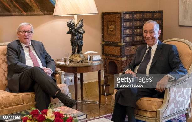 The President of the European Commission JeanClaude Juncker and Portuguese President Marcelo Rebelo de Sousa meet at Belem Palace on October 30 2017...