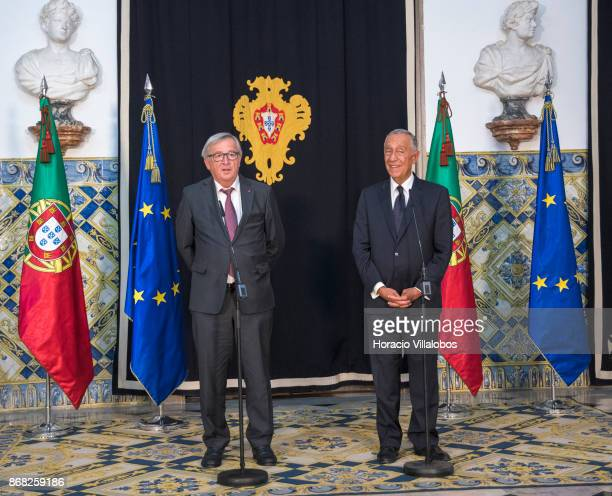 The President of the European Commission JeanClaude Juncker and Portuguese President Marcelo Rebelo de Sousa deliver statements at Belem Palace on...