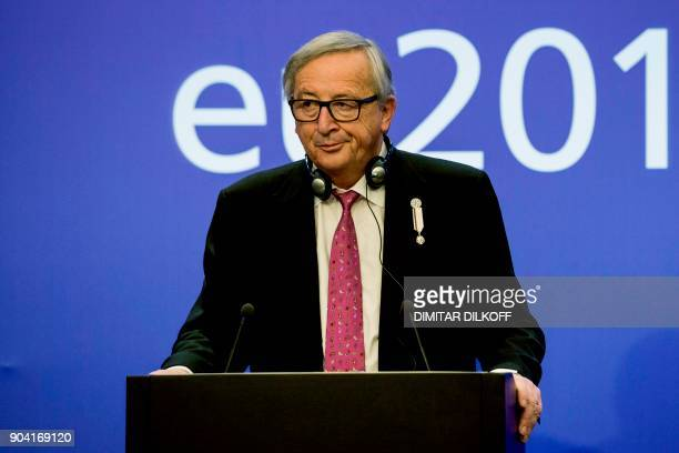 The President of the European Commission JeanClaude Juncker attends a press conference with Bulgarian Prime Minister in Sofia on January 2018 Juncker...
