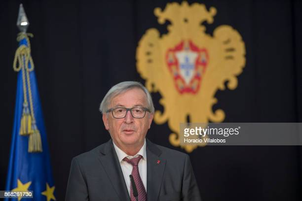 The President of the European Commission JeanClaude Juncker delivers a statement in Belem Palace on October 30 2017 in Lisbon Portugal Mr Juncker is...