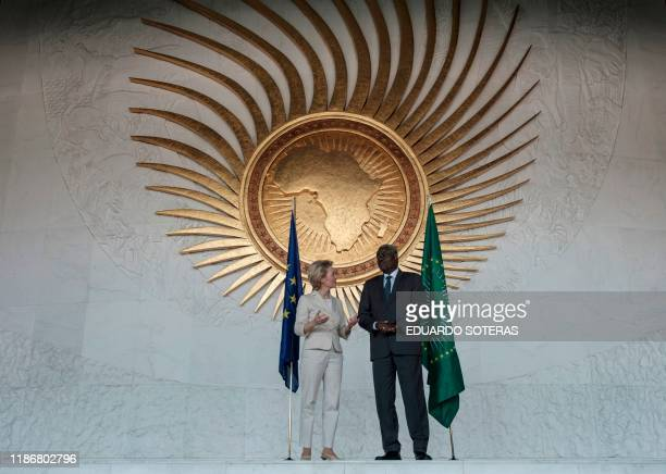 The President of the European Commission, Ursula von der Leyen talks with the Chairperson of the African Union, Moussa Faki Mahamat, during her visit...