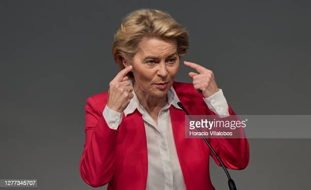 The President of the European Commission Ursula von der Leyen gestures while delivering remarks in the presentation of the European and Portuguese...
