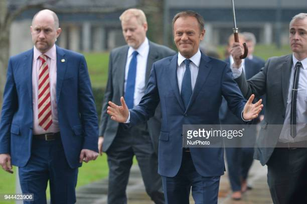 The President of the European Council Donald Tusk arrives at the UCD Law Society in O'Reilly Hall just before he is presented with an Honorary Law...