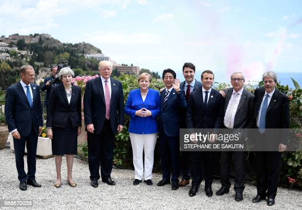 The President of the European Council Donald Tusk Britain's Prime Minister Theresa May US President Donald Trump German Chancellor Angela Merkel...