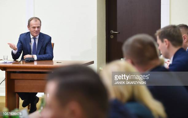 The President of the European Council Donald Tusk testifies before a parliamentary investigation commission in Warsaw on November 5 2018 The...
