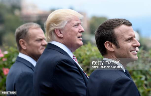 The President of the European Council Donald Tusk US President Donald Trump and French President Emmanuel Macron attend the Summit of the Heads of...