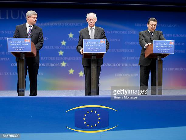 The President of the European Council Herman Van Rompuy ; President of European Commission Jose Manuel Barroso and Canadian Prime Minister Stephen...