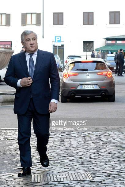 The President of the European Parliament Antonio Tajani enters the Senate to take part in the assembly of parliamentarians and MEPs of Forza italia...