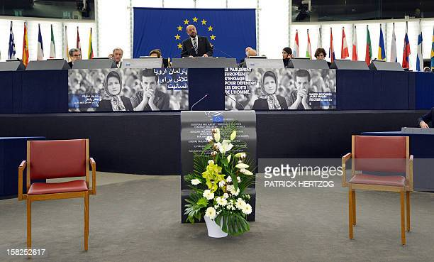 The President of the European Parliament Martin Schulz speaks during a ceremony awarding the Sakharov Prize for freedom of thought to Iranian...
