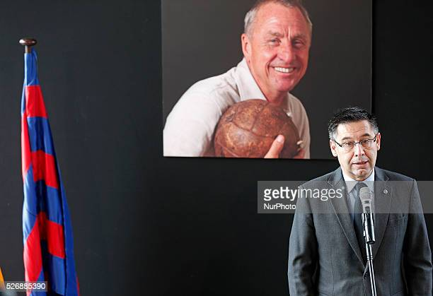 the president of the FC Barcelona Josep Maria Bartomeu during the ceremony in memoriam at Johan Cruyff celebrated in the Camp Nou on march 26 2016