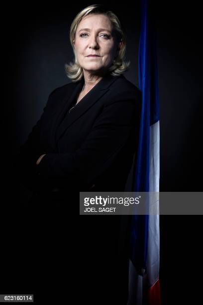 The president of the French farright Front National party and presidential candidate for the 2017 French presidential elections Marine Le Pen poses...
