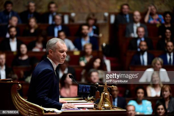 The president of the French National Assembly Francois de Rugy opens the session before French Prime Minister's general policy speech on July 4 2017...