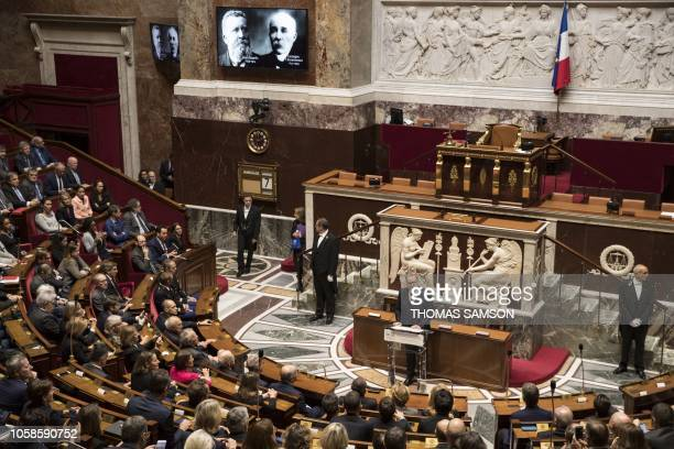 The President of the French National Assembly Richard Ferrand delivers a speech on November 7 before unveiling a plaque in memory of French political...