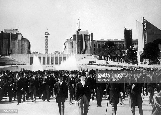 The President of the French Republic Albert LEBRUN inaugurating the Universal Exhibition of Paris around the Palais de Chaillot on May 24, 1937.