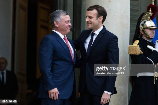 The President of the French Republic Emmanuel Macron receives his Majesty Abdullah II King of Jordan at Elysee Palace on December 19 2017 in Paris...