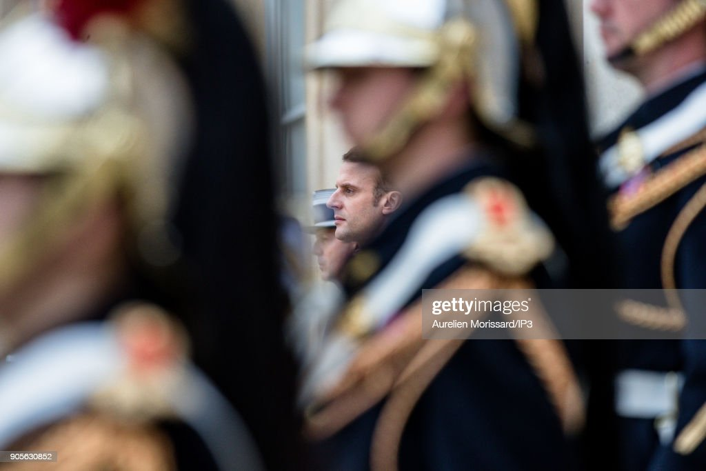 French President Emmanuel Macron Receives Sebastian Kurz, Austria's Chancellor At ELysee Palace In Paris : Fotografía de noticias