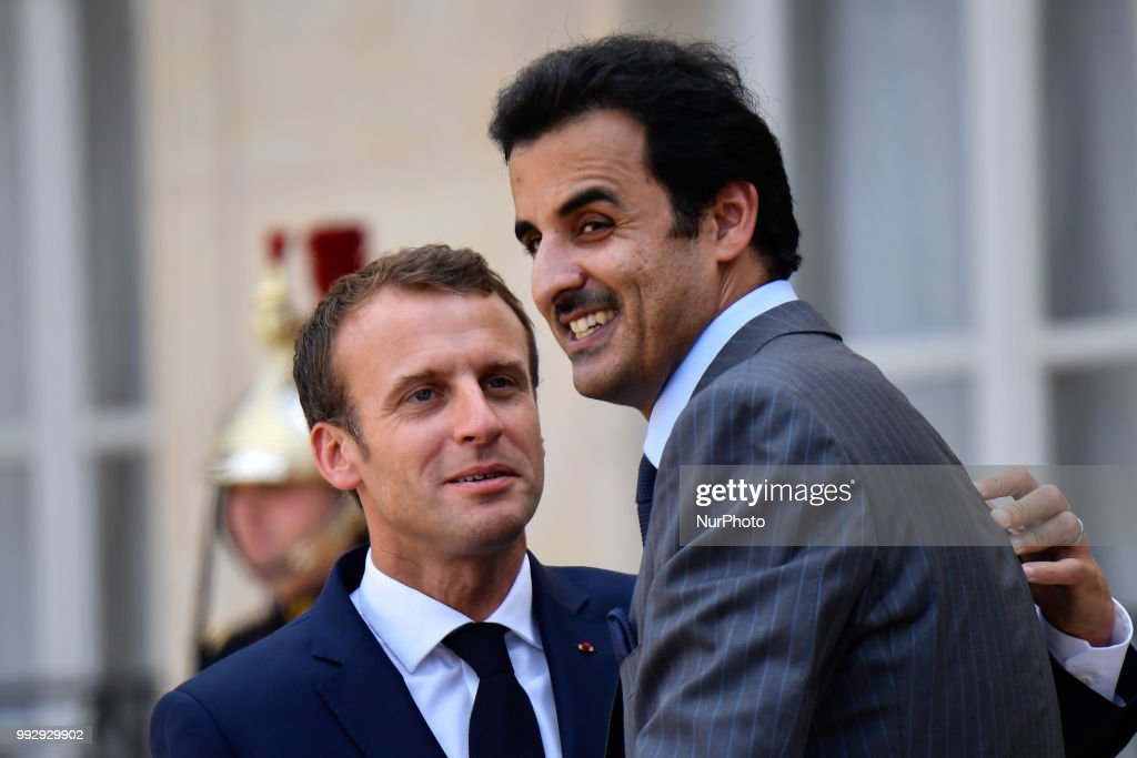 The President of the French Republic, Emmanuel Macron receives Sheikh Tamim bin Hamad Al Thani, Emir of the State of Qatar at the Elysée Palace, in Paris, France on July 6, 2018.