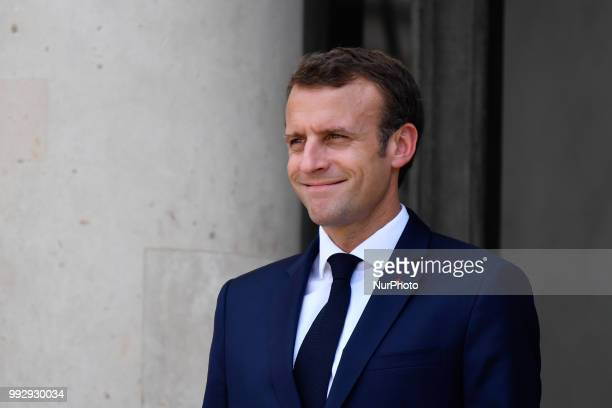 The President of the French Republic Emmanuel Macron receives Sheikh Tamim bin Hamad Al Thani Emir of the State of Qatar at the Elysée Palace in...