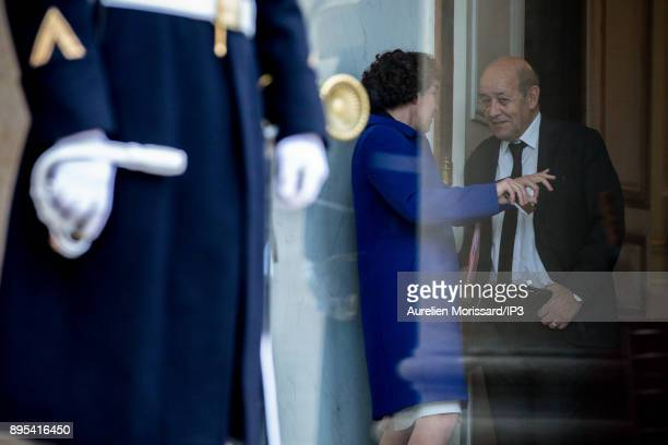 The President of the French Republic receives his Majesty Abdullah II King of Jordan for an interview In the presence of Jean Yves Le Drian Minister...