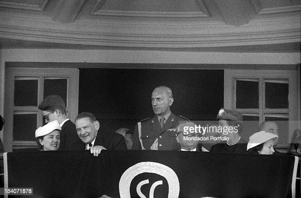 The President of the French Republic Rene Coty sitting in a VIP tribune near the President of the Italian Republic Giovanni Gronchi during a state...