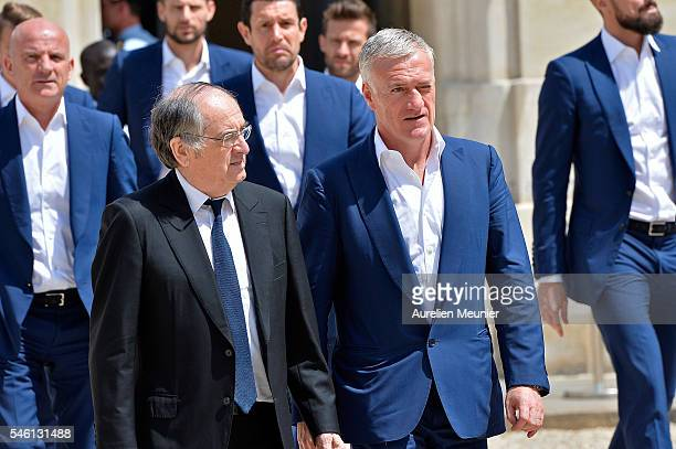The President of the French soccer federation Noel Le Graet and the Coach Didier Deschamps arrive at Elysee Palace as French President Francois...